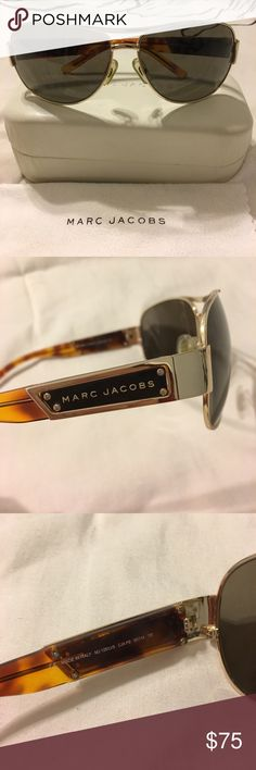 Marc Jacobs Aviator Sunglasses Stylish Marc Jacobs 125 unisex sunglasses. Comes with hard glasses case, microfiber bag and microfiber cloth. One side opens and closes slower than the other, but you can't tell when you're wearing them! Marc Jacobs Accessories Sunglasses