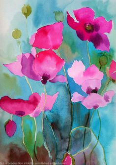 Poppies painting - watercolour ink poppies Water colour ink on paper