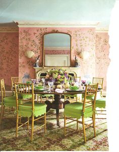 This dining room by Mario Buatta is everything I want (except with a neutral color palette). Love the gold Chiavari chairs and the chinoiserie wallpaper.