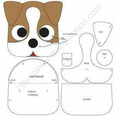 sewing pattern to make cute Jack Russell inspired Dog Coin Purse with zippe. - Free sewing pattern to make cute Jack Russell inspired Dog Coin Purse with zipper closure. Template -Free sewing p. Felt Patterns, Craft Patterns, Sewing Patterns Free, Free Sewing, Pattern Sewing, Free Pattern, Pattern Ideas, Sewing Toys, Sewing Crafts