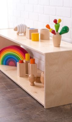 Sprout's Montessori Infant Shelf is great for encouraging freedom and autonomous exploration. You baby or toddler can engage with toys when they choose and use the shelf to pull themselves up and practice walking. This weaning shelf is made from natural Baltic birch plywood and is fully finished for safety in the playroom, nursery, and living room.
