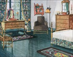 1920s colonial furniture | ... Blue-green Bedroom - Vintage Bedroom Inspiration from the 1920s