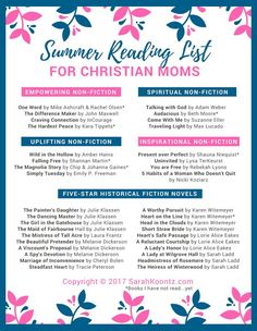 List includes 5 top Christian historical fiction authors, 10 must-read Christian Nonfiction titles, and a FREE printable Summer Reading List for Christian Women Christian Women, Christian Living, Christian Faith, Historical Fiction Authors, Reading Challenge, Book Challenge, Reading Goals, Books For Moms, Summer Reading Lists
