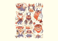 owls by meg hunt ugh I really do love her art style and wish I had one of her shirts in my closet because I love it so