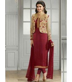 Indian Ethnic Designer Straight Fit Salwar Kameez Churidar Suit Designs 2016 by Prachi Desai. Party wear salwar kameez suits at best Indian prices/ Designer Salwar Kameez, Indian Salwar Kameez, Salwar Suits, Punjabi Suits, Georgette Fabric, Saris, Indian Dresses, Indian Outfits, Places