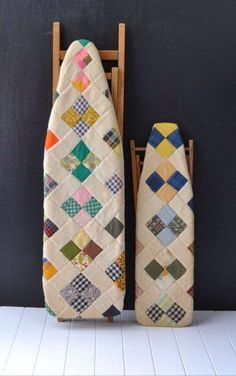 """A fun idea for """"What to do with old ironing boards.""""  CUT SQUARES FAST with AccuQuilt. https://www.accuquilt.com/shop/go-square-4-1-2-4-finished-multiples.html"""