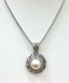 Take a look at this Silver Pearl Pendant Necklace by Fantasy World Jewelry on #zulily today!