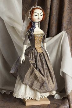 Items similar to SOLD Mariam I, William and Mary period style wooden doll on Etsy Old Dolls, Antique Dolls, Vintage Dolls, William And Mary, English Artists, China Dolls, Wooden Dolls, Victoria And Albert Museum, Old And New
