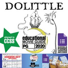 Dolittle Movie Guide | Questions | Worksheet (PG - 2020) challenges students to connect with the characters, their internal struggles and the decisions that they make throughout the film. #GoogleClassroom #GoogleForms #Teachers #MovieGuides #LessonPlans #TPT #TeachersPayTeachers #CCSS #Homeschooling #RemoteLearning #DistanceLearning