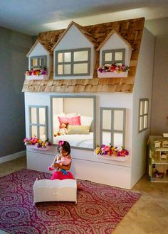 Mia's Country Cottage bed loft bunk bed doll house or play house. - Mia's Country Cottage bed loft bunk bed doll house or play house. optional- trundle slide w / sto - Loft Bunk Beds, Kids Bunk Beds, House Bunk Bed, Queen Bunk Beds, Bunk Beds For Girls Room, Girl Loft Beds, Cool Kids Beds, Bunk Bed Fort, Childrens Bunk Beds