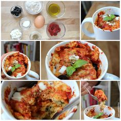 In a rush and in need of a quick snack? Preparation and cooking time of these 3 savory mug cake recipes are well below 5 minutes. Enjoy your pizza mug cake fresh and hot off the microwave! Microwave Mug Recipes, Microwave Dishes, Microwave Pizza, Super Healthy Recipes, Healthy Foods To Eat, Healthy Breakfasts, Healthy Dishes, Eating Healthy, Clean Eating