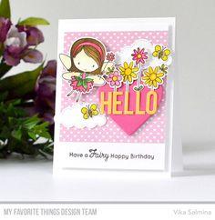 Fairy Happy stamp set and Die-namics, Happy Greetings Die-namics, Heart Shaker Window & Frame Die-namics, Stitched Basic Edges 2 Die-namics, Stitched Clouds Die-namics - Vika Salmina #mftstamps