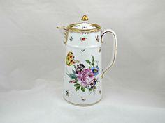 Richard Klemm Chocolate Pot, Hand Painted Dresden Flowers, German Porcelain, Gold Gilt