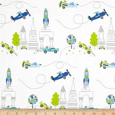 Designed by Tamara Kate for Michael Miller, this cotton print is perfect for quilting, apparel and home décor accents. Colors include white, lime, charcoal and shades of blue.