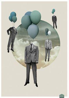 collage, man, balloon, color, suit — Clément G Collage Kunst, Art Du Collage, Surreal Collage, Collage Design, Art Design, Surreal Art, Digital Collage, Digital Art, Collages