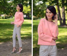 Daisyline . - Zara Silver Heels, Zara Pants, Romwe Blouse - Neoprene pink blouse / www.daisyline.pl