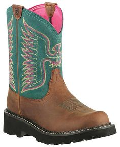 Ariat Fatbaby Teal Thunderbird Cowgirl Boots - Round Toe