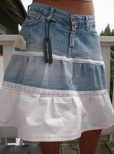 White shirt added on to denim skirt to create new look Clothes Crafts, Sewing Clothes, Jeans Refashion, Denim Crafts, Denim And Lace, Recycled Denim, Clothing Hacks, Clothing Patterns, Bag Patterns