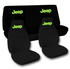 Jeep wrangler TJ front+back car seat covers solid black w/Jeep,CHOOSE COLOR