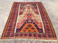 6'9 x 4'8 area rug kilim rug kelim rug vintage rug by PocoVintage