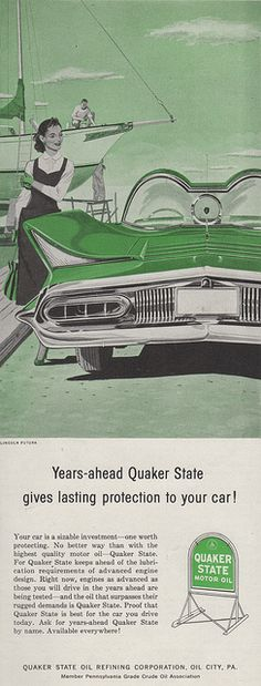 Quaker State motor oil aid showing the Lincoln Futura