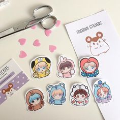 Handmade BTS Stickers I drew the stickers myself inspired by - Includes 7 stickers - Jin RM Jimin. V Jungkook J-hope & Suga - All stickers are approximately Pop Stickers, Kawaii Stickers, V Chibi, Anime Character Drawing, Kpop Diy, Cute Disney Drawings, Bts Funny Videos, School Scrapbook, Kpop Drawings