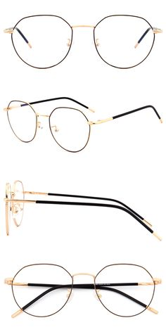 Black and Gold Prescription Glasses Frames, Fake Glasses, Mens Glasses, Fashion Eye Glasses, Retro Look, Gold Gold, Different Colors, Eyeglasses, Drawing Ideas