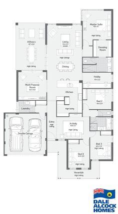 Archipelago ii dale alcock homes floor plans house design, h Bedroom House Plans, Dream House Plans, House Floor Plans, My Dream Home, Home Design Floor Plans, Plan Design, Long House, Home Theater Rooms, Modern Mansion