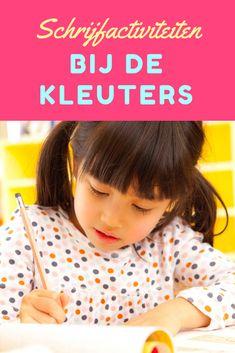 Schrijfactiviteiten bij de kleuters Motor Skills, Letters, Activities, Writing, Fun, Blog, Kids, School Ideas, Graphic Design
