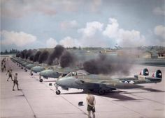 """de Havilland Venoms of 14 Squadron, RNZAF, based at RAF Tengh Singapore, powering up during operation """"Firedog"""" in Malay, Navy Aircraft, Aircraft Photos, Ww2 Aircraft, Fighter Aircraft, Fighter Jets, Military Jets, Military Aircraft, De Havilland Vampire, V Force"""