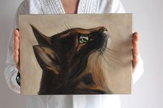 Original Oil Art Cat Painting Inspire Oryginal by BarbaraGallery