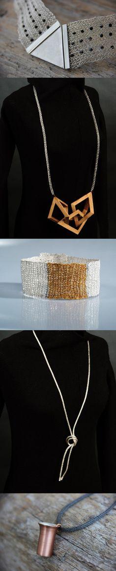 Atelier Zellhuber: Colliers - Ketten http://www.atelier-zellhuber.de/index.php/schmuck.html #handgefertigt #gestrickt #Edelholz #Swarovski #Edelstahl #Kupferbecher #Gold #Silber