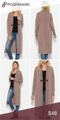 5f8c4f51f8 Gorgeous long front hook ribbed sweater duster! In taupe to match all your  winter favorites