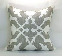 Barbara Barry Poetical pillow cover in Gray - 20 x 20. 80.00, via Etsy.