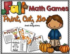 Back to School Giveaway - Get ready for school with these fun fall themed math games. The games are great for your math stations..  A GIVEAWAY promotion for Math Games Fall Theme - Print, Cut, Go from Sweet Integrations on TeachersNotebook.com (ends on 8-9-2015)