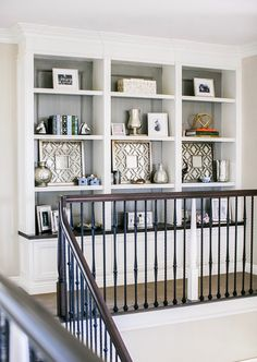 Interior Decorating Tips For Someone Looking To Improve Their Home built-in shelves at top of stairs Bookcase Styling, Built In Bookcase, Bookcases, Classic Bookshelves, Build In Bookshelves, Large Bookcase, Ikea Billy Bookcase, Interior Decorating Tips, Interior Design