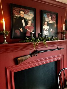 Mantle with Folk Art Portraits