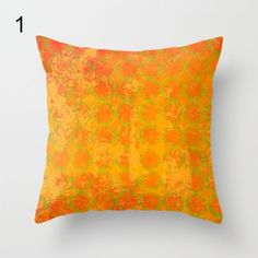 Warm orange pillow gold pattern pillow orange home by NewCreatioNZ