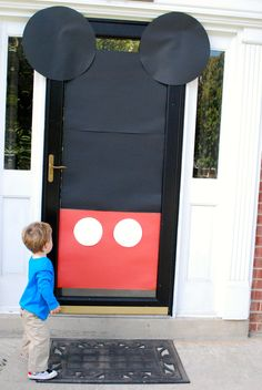 Mickey Mouse door. Poster paper stuck to the front door welcomed all into our clubhouse!