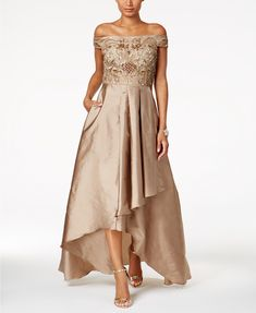 Adrianna Papell Off-The-Shoulder High-Low Gown | macys.com