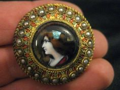Antique Button Hand Enamel Portrait Blue Foil Accent Green Red on Gold w Pearls