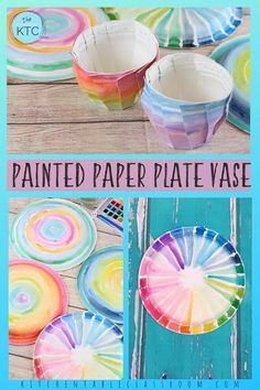 Turn a paper plate into a colorful paper vase with this easy paper plate craft. #paperplatecraft Vase Crafts, Paper Plate Crafts, Easy Paper Crafts, Paper Plates, Craft Projects For Adults, Art Activities For Kids, Art For Kids, Elderly Activities, Dementia Activities
