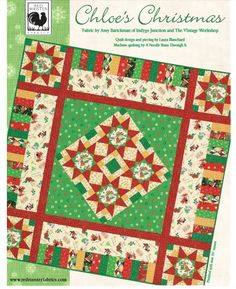 """""""Chloe's Christmas"""" Free Quilt Pattern designed by Laura Blanchard from Red Rooster Fabrics brought to you by www.QuiltTherapy.com"""
