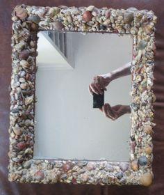 Vintage SEASHELL Shell Art Folk ART Nautical Beach MIRROR Frame c.1930s 12 x 16 #FolkArtSeashells #unknown