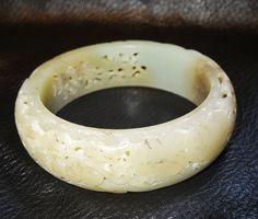 Antique Nephrite Bangle Carved Jade Qing by ElegantArtifacts