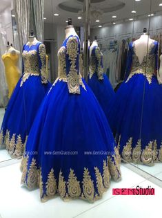 Classic Embroidered Ballgown Royal Blue Prom Dress with Long Sleeves. Custom with heart by GemGrace. Want this prom dress? We can make it at affordable price for you. Click view more ideas!