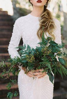 букет невесты с зеленью