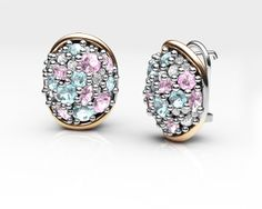 925 Sterling Silver Earring 18k. Gold, Rhodolites, Blue and White #Topaz. #caviar #bohemmejewelry