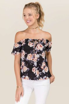 Sascha Off The Shoulder Knit Floral Top