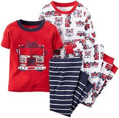 Carter's Baby Boys 4 Piece Snug Fit Cotton Pajamas (Fire Trucks) Cotton pjs are not flame resistant. For child's safety, cotton pjs should always fit snugly. Your little night owl will love catching some zzz's in these glowing pjs! Baby Boy Pajamas, Carters Baby Boys, Toddler Boys, Toddler Playroom, Toddler Pajamas, Toddler Outfits, Baby Boy Outfits, Cotton Pjs, Boys Sleepwear